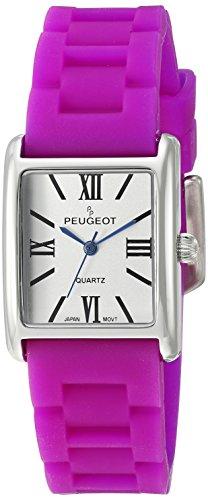peugeot-womens-silver-tank-quartz-metal-and-rubber-dress-watch-colorpurple-model-3066spr