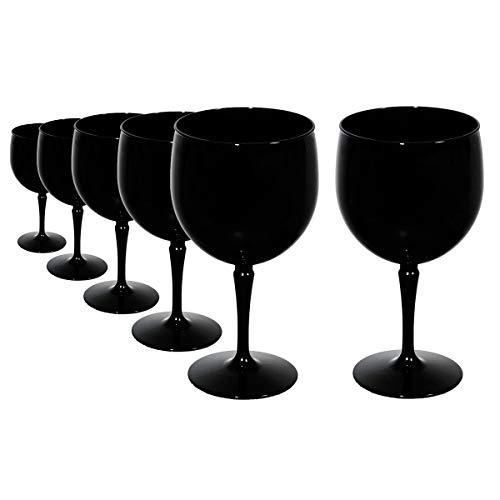 RB Incassable Verres Ballon Cocktail Gin Noir Premium Plastique 47cl, Lot de 6