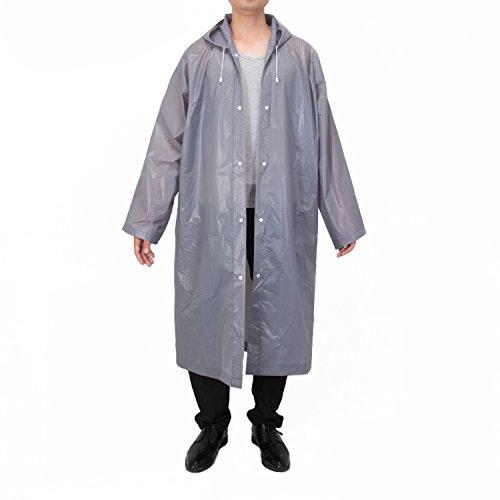 Vancool Moda duradero EVA impermeable gris capa de lluvia del poncho Unisex Hombres Mujeres con capucha y mangas, reutilizable, portátil, plegable.chubasquero