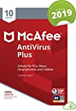 McAfee AntiVirus Plus 2019 | 10 Geräte|1 Jahr | PC/Mac/Smartphone/Tablet | Download [Online Code]