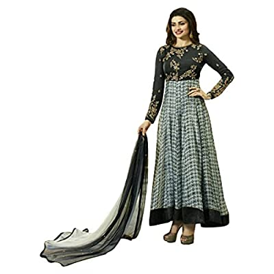 Anarkali ( Shoponbit Dark Grey colour Georgette Embroidered With Print semi stitched party wear Anarkali Suit ) - Dark Grey Type: Semi-stitched