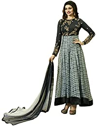 Anarkali ( Shoponbit Dark Grey Colour Georgette Embroidered With Print Semi Stitched Party Wear Anarkali Suit )