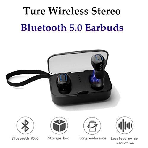 YOUXIU Bluetooth inalámbrico Auriculares Deportivos, Bluetooth V5.0 Reducción de Ruido Inteligente CVC IPX4 Impermeable y Resistente al Sudor micrófono Incorporado con Caja de Carga,White