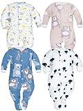 SIBINULO Jungen Mädchen Schlafstrampler mit ABS 4er Pack Monde Granate Teddybären Luftballons Beige Teddybären 92(18-24 Monate)