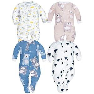 Sibinulo Niño Niña Pijama Bebé Pelele de Algodón- Tamaños 56-74 - Pack de 4 2