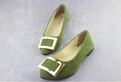 LvYuan Women's Flats / Suede / Office & Karriere / Flat Ferse / Comfort Outdoor Casual Mode / Loafers & Slip-Ons / Gehen faule Schuhe army green