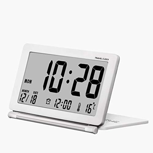 CETECK Reisewecker Batteriebetrieben Digitalwecker Tischuhr mit Schlummerfunktion, LCD Temperatur/Datums Anzeige für Zuhause Büro Reise benutzen