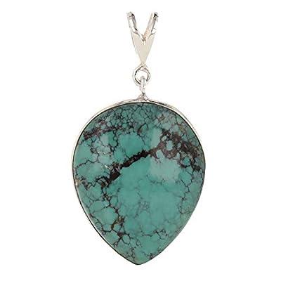 cadeau femme-Pendentif argent et Belle pierre de turquoise forme poire inversée sertissage d'argent