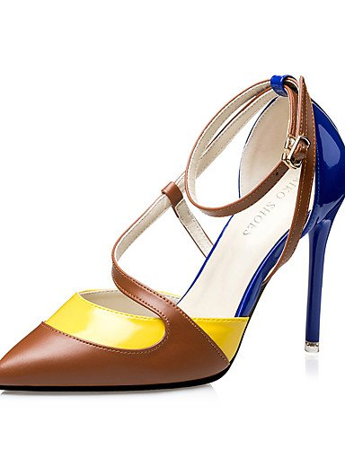 WSS 2016 Chaussures Femme-Habillé-Noir / Bleu / Rose-Talon Aiguille-Talons / Bout Pointu / Bout Fermé-Talons-Similicuir pink-us7.5 / eu38 / uk5.5 / cn38