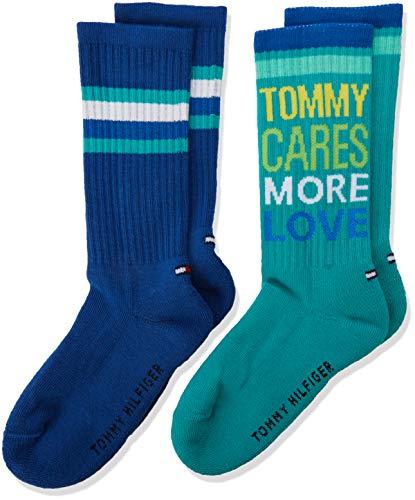 Tommy Hilfiger Jungen Socken TH Boys 85 2P, 2er Pack, Mehrfarbig (Aqua Green 044), 27-30
