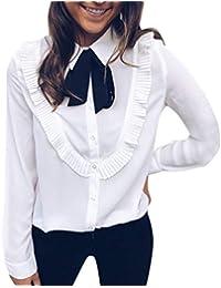 b8aaec1cbf4ef BBsmile Ropa Mujer-Camisas Mujer Trabajo de Oficina Elegantes Flores  Plisado Sólido Blusas Manga Larga