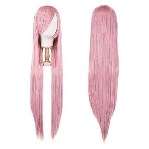 ange 100cm Sexy Haare Damenperücken Wig für Karneval Cosplay Halloween Fasching Anime Kostüm Mottoparty (Rosa Damen Haar)