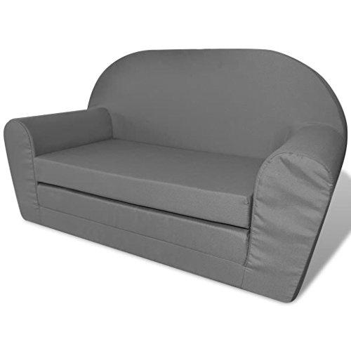 Festnight Kinder Aufklappbar Loungesessel Kindersessel Kinderm?bel Kindersofa für Wohnzimmer oder Schlafzimmer - Grau