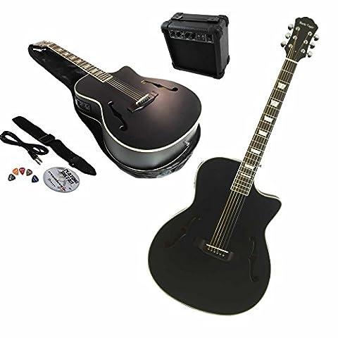 Martin Taylor Electric Electro SATIN BLACK semi acoustic guitar and 15 watt amplifier package inc. custom gig bag, Fender
