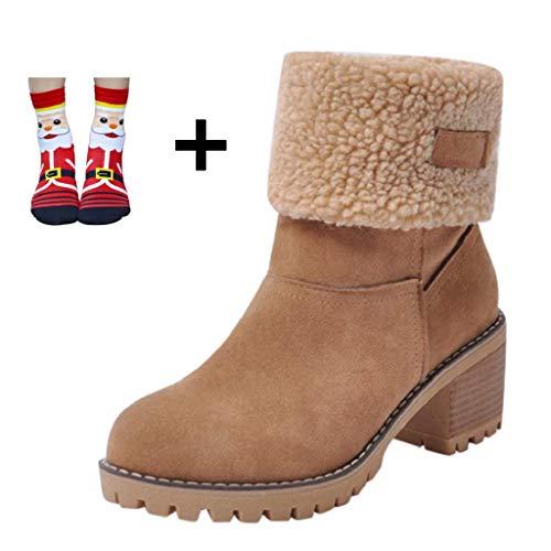 QUICKLYLY Botas de Mujer,Botines para Adulto,Zapatos Otoño/Invierno 2018,Caliente Martin Snow Botín Corto(marrón,43CN)