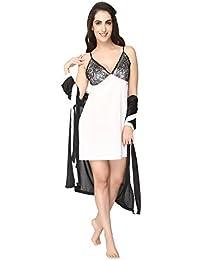 ef5035c670 Pretty Awesome Women s Satin 3 Pc Short Bedroom Nighty Nightdress Nightwear