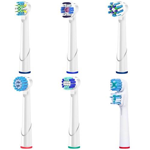Oral b Aufsteckbüsten Zahnbürstenkopf für Ersatzbürstenkopf Oral-B EB17 Sensitive Clean,EB18 3D White,EB20 Precision Clean ,EB25 FlossAction,EB50 Crossaction,SB417 Dual Clean.Komplett kompatibel mit Volle Braun elektrisch Zahnbürste Griffen.(6 Stücke Verschieden)