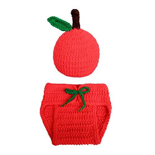 Roter Kostüm Apfel Kind - FeiliandaJJ Neugeborenes Baby Mütze+Gestrickte Shorts Apfel Kleidung Kostüm Foto Fotografie Requisiten Outfit (Rot)