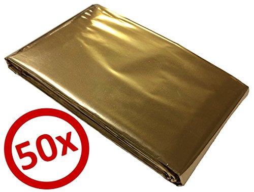 50 Rettungsdecken Goldfolie 160 x 210 cm Silber/Gold - GRATIS Lieferung innerhalb Deutschlands