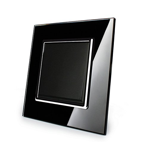 Preisvergleich Produktbild Design Glas Panel Ein und Aus Schalter Lichtschalter schwarz von Livolo