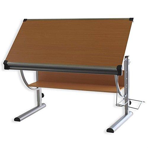 IDIMEX Bureau enfant écolier junior CHRISTINA table à dessin réglable en hauteur et plateau inclinable avec tablette en MDF décor hêtre, structure en métal