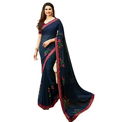 Sarees Radhika Saree New Collection 2018 Blue Pink Color Georgette