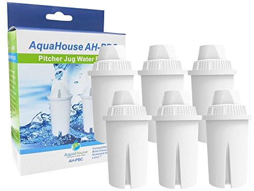 6x aquahouse ah-pbc Compatible cartucho de filtro de agua para Brita Classic jarras de filtro, Kenwood, Laica, PearlCo, DAFI, Universal filtro de jarra Classic