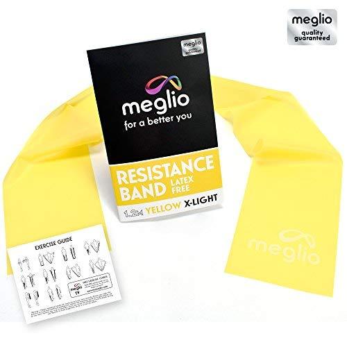 Meglio banda elastica latex-free per mobilita` forza & riabilitazione qualita` premium 1,2 e 2 metri – manuale incluso (1,2 m, giallo (extra-leggero))