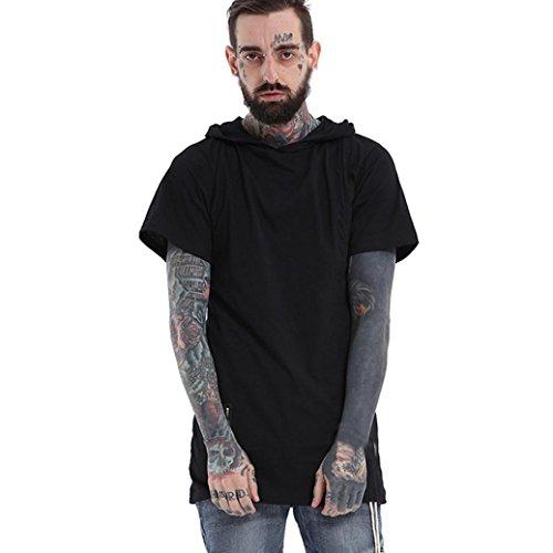 Rcool Männer Baumwoll lose mit Kapuze Tops Sport-T-Shirt mit kurzen Ärmeln Bluse Schwarz