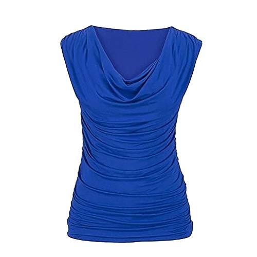 Damen Falten Ärmellos T-Shirt mit Wasserfallausschnitt, Rovinci Frauen Sommer Einfarbig Tanktops Übergröße Asymmetrisch Stretch Tunika Tops Lose Basic Bluse Pulli Hemd Oberteile Shirt Weste -
