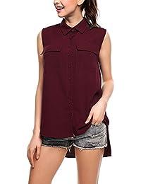 0b7e0f4abc58e Modfine Camisa De Gasa Mujer Camiseta Sin Manga Blusa Color sólido Blusa  Suelta T-Shirt