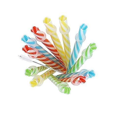 Yuting 12x farbiger wiederverwendbare, dicke Kunststoff-Trinkhalme Glasbecher Trinkhalme mit Reinigungsbürste.