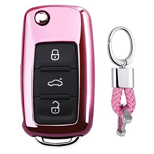 Rosa Car Keyless Entry Key Cover Fall für VW Volkswagen Polo Passat Golf Beetle Rabbit GTI Jetta 3 Button, Weiches TPU Schutzhülle mit Schlüssel Kette