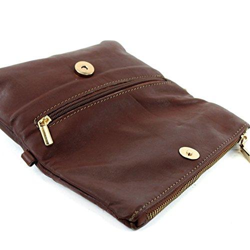 modamoda de -. Borsa ital Borsa piccola in pelle di spalla delle signore sacchetto di frizione polso Bag T95 pelle Braun