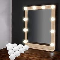 EEIEER Kit Lumiere LED Miroir, Hollywood Vanity Mirror Light 10 LED à Miroir de Vanité USB alimenté Luminosité Réglable pour Maquillage Table Salle de bains Vestiaire
