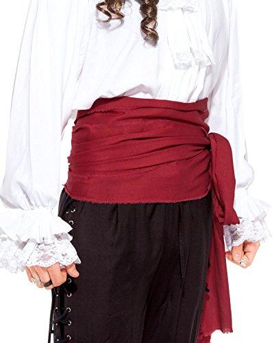 Pirat Mittelalter Renaissance Linen Große Band [C1417], rot, (Männer Piraten Outfit)
