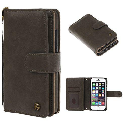 """MOONCASE iPhone 7 Coque, Built-in Card Slots Kits Flip Cuir Housse Doux Silicone Antichoc Protection Portefeuille Étuis Case pour iPhone 7 4.7"""" Marron Foncé Gris"""