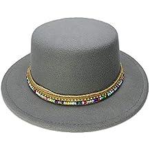 Para sombreros de mujer Sombrero de copa incondicional de lana Boater para  hombre Sentido de ala ancha Sombrero de Fedora Caballero Prok Pie Chapeu de  ... d2f19febfd4
