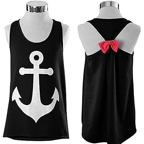 Slickblue para mujer sin mangas espalda cruzada Anchor camiseta de tirantes espalda lazo camiseta blusa
