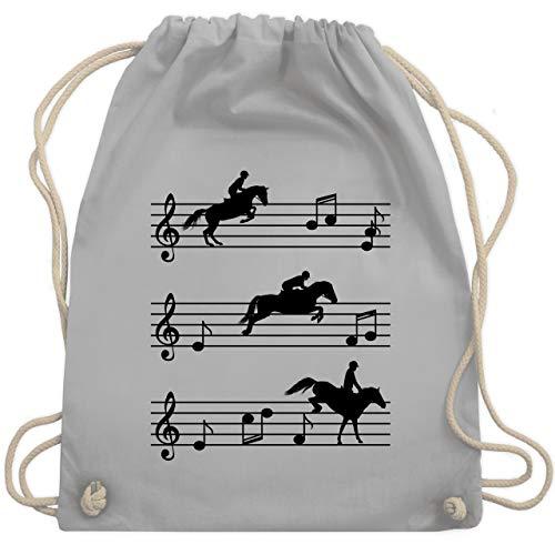 Shirtracer Pferde - Pferde auf Musiknoten - schwarz - Unisize - Hellgrau - WM110 - Turnbeutel und Stoffbeutel aus Bio-Baumwolle