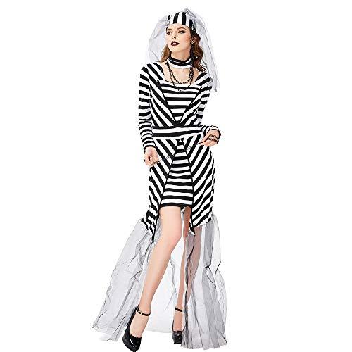 Averyshowya Halloween Kostüm Für Halloween Paar Bräutigam Leiche Braut Horror Hochzeitskleid Zombie Braut Dress Up Cosplay Kostüm - Leiche Braut Und Bräutigam Kostüm