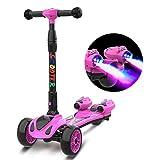 Unbekannt Roller, faltbar, für Kinder mit dynamischer Musik und magischem Spray, höhenverstellbar, 4 Räder, mit Lehne zum Len