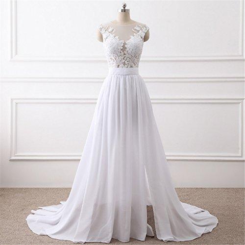 ELEGENCE-Z Rundhalsausschnitt Fischschwanz Hochzeitskleid Braut Abendessen Elegantes Kleid,M