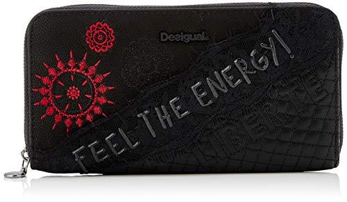 Desigual Damen Wallet Rep Comunika Zip ARO Geldbörse, Schwarz (Negro), 2x9.5x19 cm