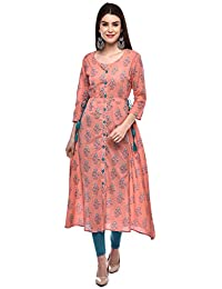 GLAM ROOTS Women's A-Line Cotton Kurta (PEACH)