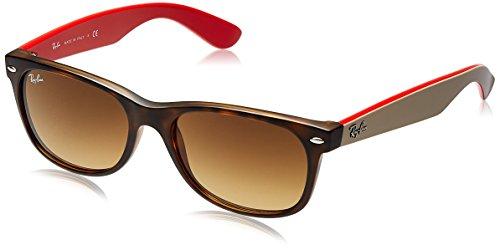 Ray Ban Unisex Sonnenbrille New Wayfarer, Mehrfarbig (Gestell: Havana, Gläser: Braun Verlauf 618185), Large (Herstellergröße: 55)
