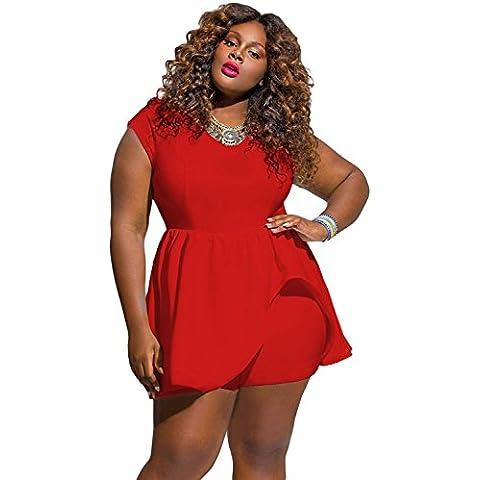 Nueva mujer Plus tamaño rojo manga corta falda romper Jumpsuit Playsuit Pelele Bodysuit Club Wear ropa tamaño XL UK 12–14EU 40–42