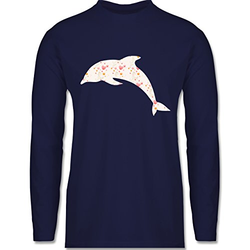 Shirtracer Sonstige Tiere - Delfin Herzen - Herren Langarmshirt Navy Blau
