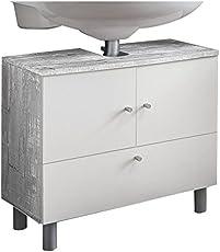 WILMES 85003-57 0 75 Badmöbel, Waschbecken Unterschrank, Badezimmerunterschrank, Unterschrank Holz, Beton/Weiß Melamin Dekor, 32 x 60 x 54 cm