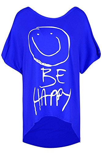 Be Jealous Damen Baggy Überdimensioniert BE HAPPY Hallo Lo Gekrümmter Saum Lässige Partei T-Shirt Rundhals Top Royal Blue - Oversize Baggy Night Gown Stretch Top